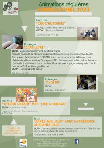 Programme des animations régulières de septembre à octobre 2021